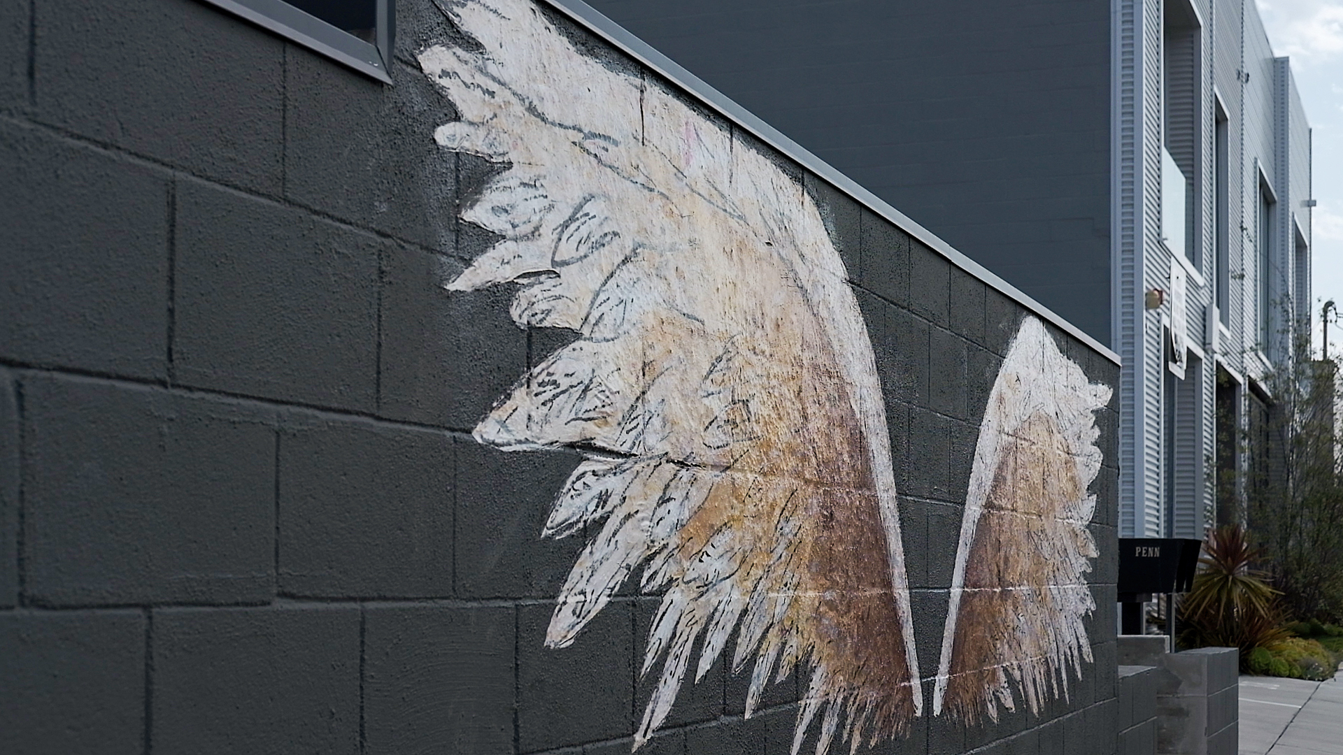 Painted angel wings on gray wall